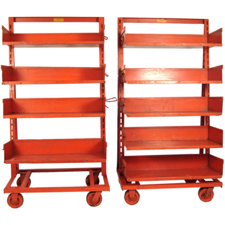 PAIR OF ORANGE METAL INDUSTRIAL  ADJUSTABLE STORAGE SHELVES For Sale