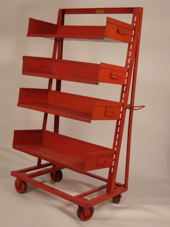 Mid-20th Century PAIR OF ORANGE METAL INDUSTRIAL  ADJUSTABLE STORAGE SHELVES For Sale