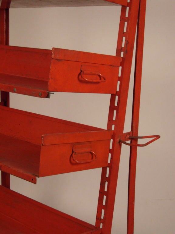 PAIR OF ORANGE METAL INDUSTRIAL  ADJUSTABLE STORAGE SHELVES For Sale 1