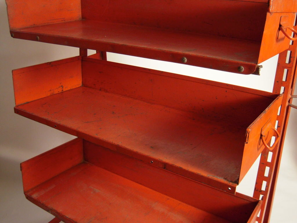 PAIR OF ORANGE METAL INDUSTRIAL  ADJUSTABLE STORAGE SHELVES For Sale 2