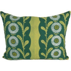 """VINTAGE HAND BLOCK PRINTED """"LAZY DAISY""""  FABRIC PILLOW, c. 1950s"""