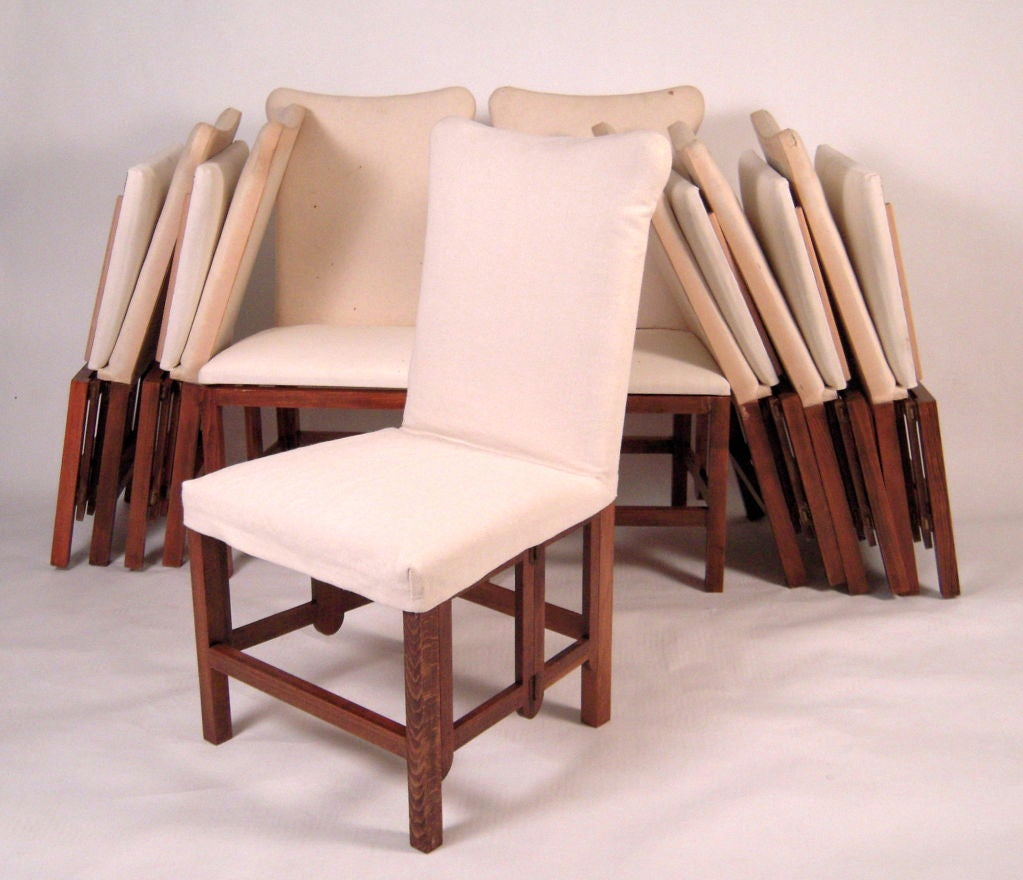 SET OF 4 CAMPAIGN STYLE FOLDING UPHOLSTERED DINING CHAIRS at 1stdibs