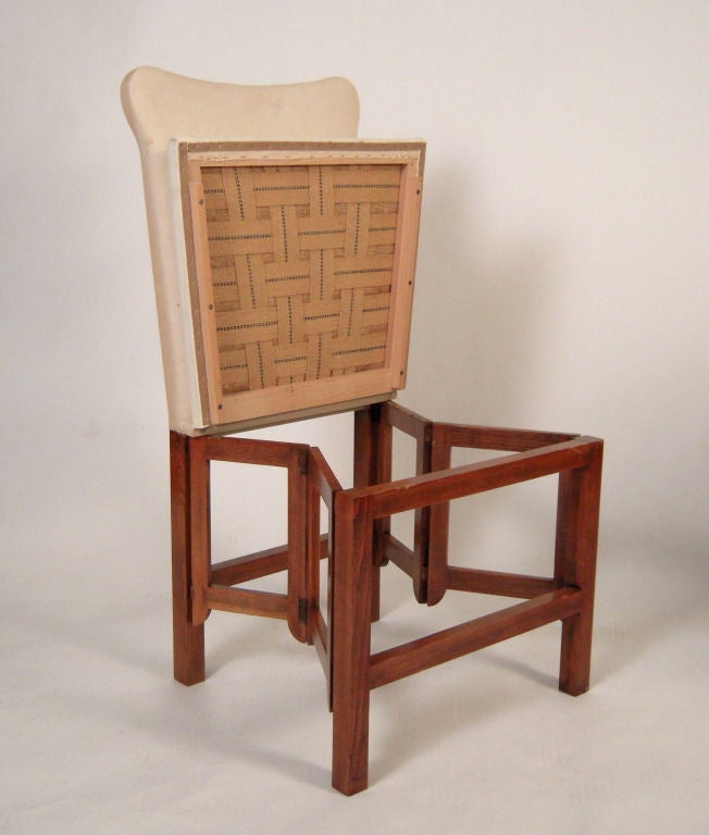 Of Set Chairs 4 Brownfoldingdining: SET OF 4 CAMPAIGN STYLE FOLDING UPHOLSTERED DINING CHAIRS