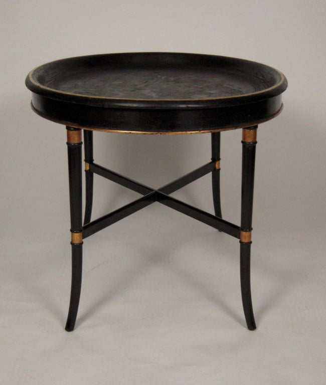 Regency Style Ebonized Oval Tray Top Coffee Table At 1stdibs