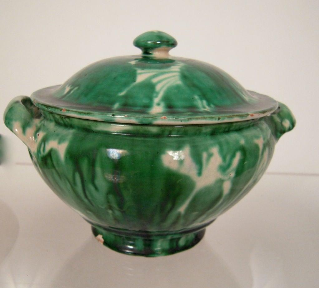 Collection Of Striking Vintage Mexican Green Pottery C