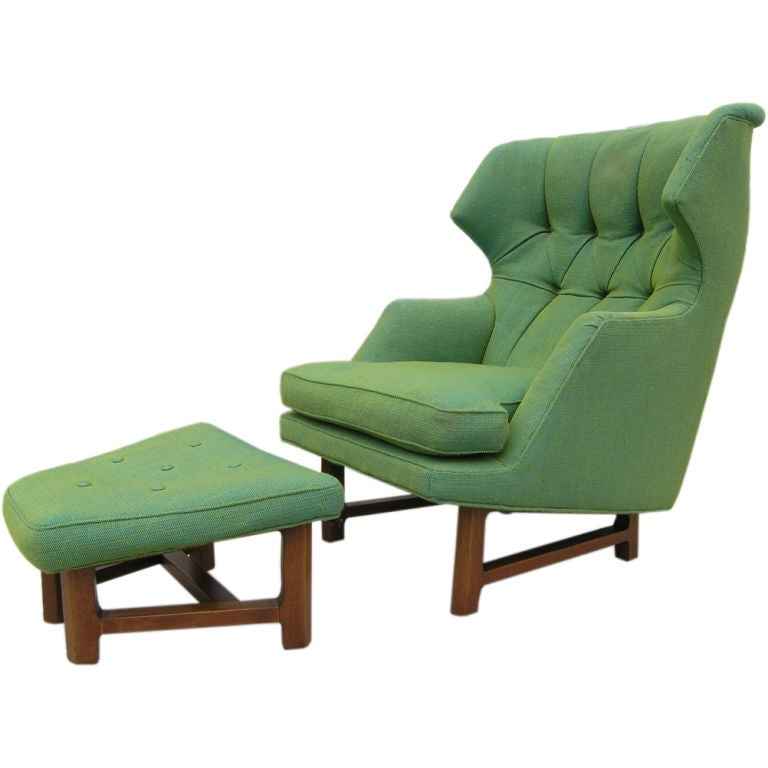 Rare Wing Lounge Chair and Ottoman by Edward Wormley for Dunbar at 1stdibs