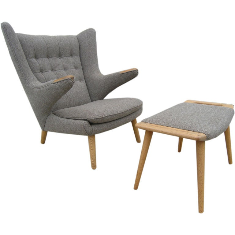 Pair of Papa Bear Chairs with Ottomans by Hans Wegner at 1stdibs