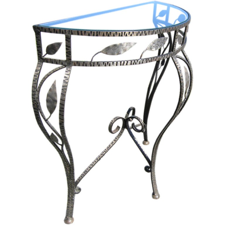 1950 39 s glass and wrought iron console table at 1stdibs for Metal console tables glass top