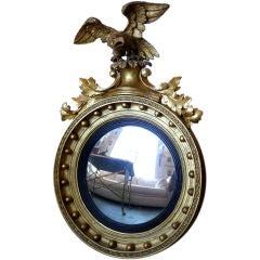 18th Century Giltwood Convex Mirror w/ Eagle