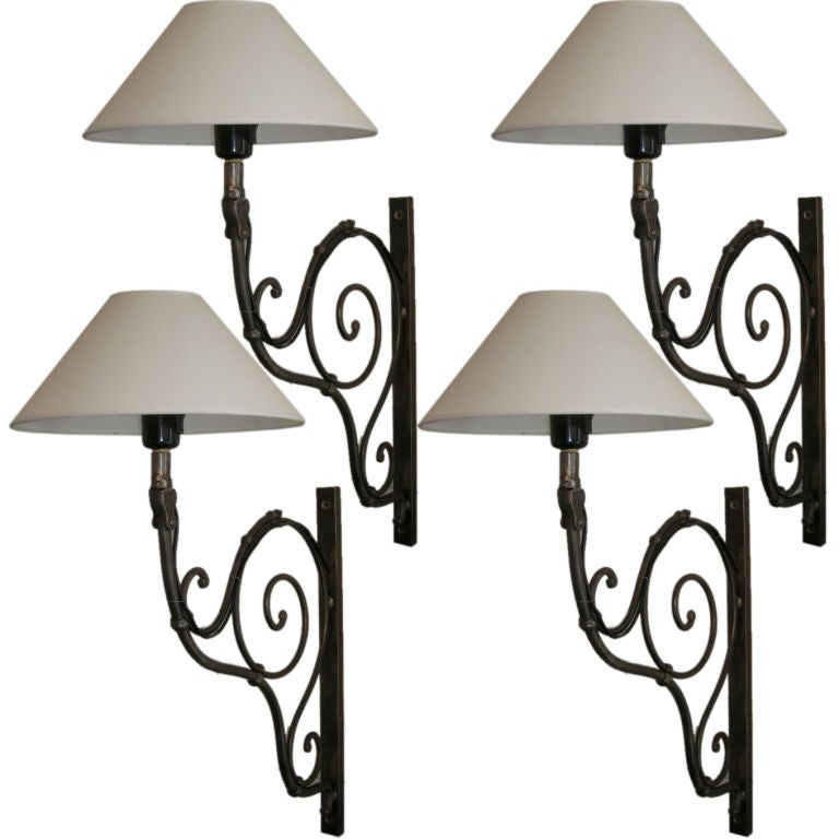 Set of Four 19th Century French Scrolled Iron Sconces