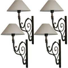 Pair of 19th Century French Scrolled Iron Sconces