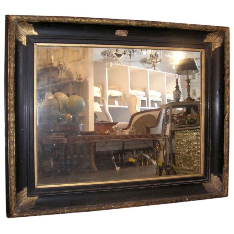 19th Century Large Gilded and Ebonized Mirror