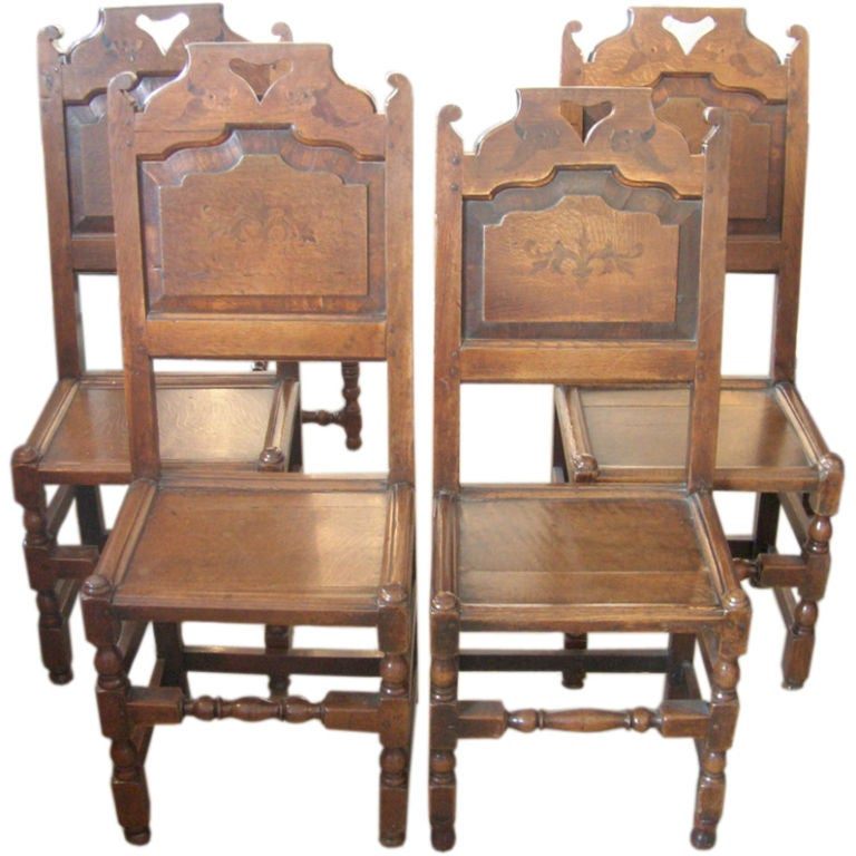 Set of Four 19th Century Jacobean Side Chairs For Sale