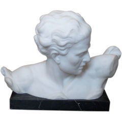 Marble bust on base