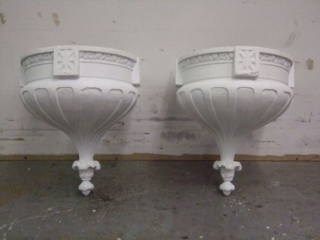 Pair of plaster theater wall lights at 1stdibs