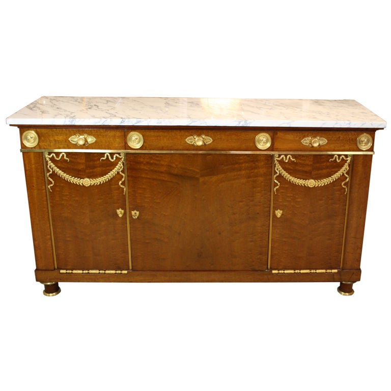 French Empire Style Mahogany Buffet with White Marble Top