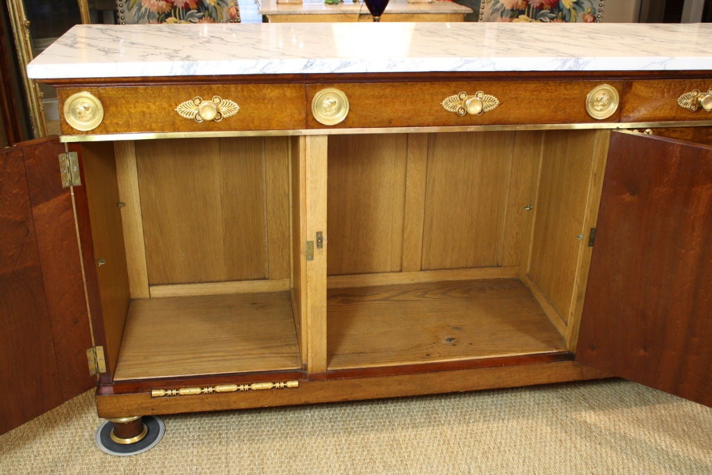 French Empire Style Mahogany Buffet with White Marble Top For Sale 5