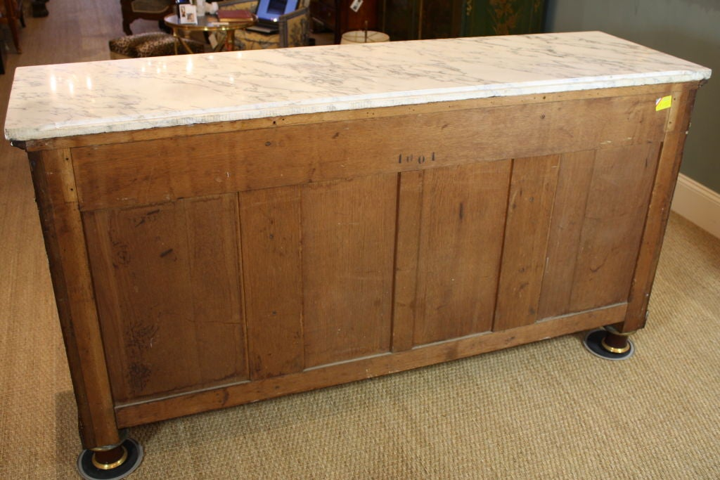 French Empire Style Mahogany Buffet with White Marble Top For Sale 6