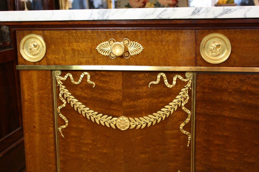 19th Century French Empire Style Mahogany Buffet with White Marble Top For Sale