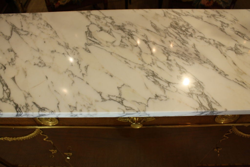 French Empire Style Mahogany Buffet with White Marble Top For Sale 3