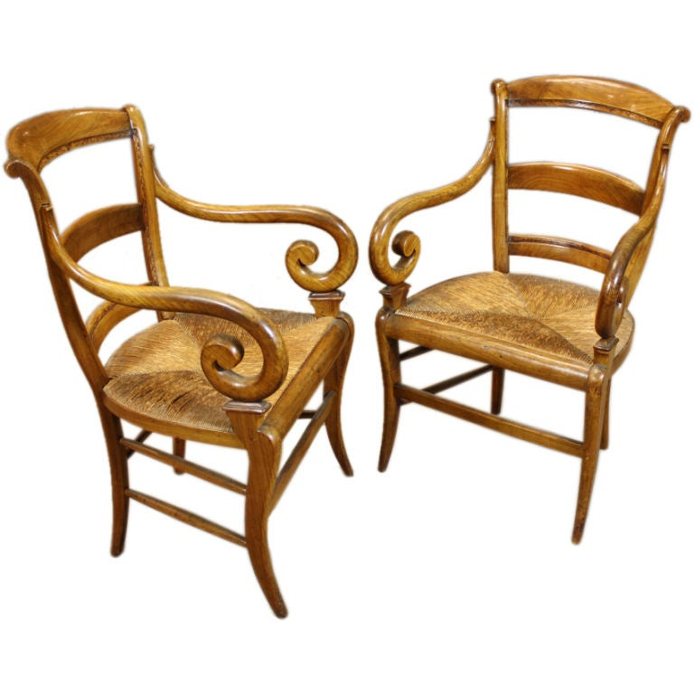 Pair of French Scroll Armchairs with Rush Seats