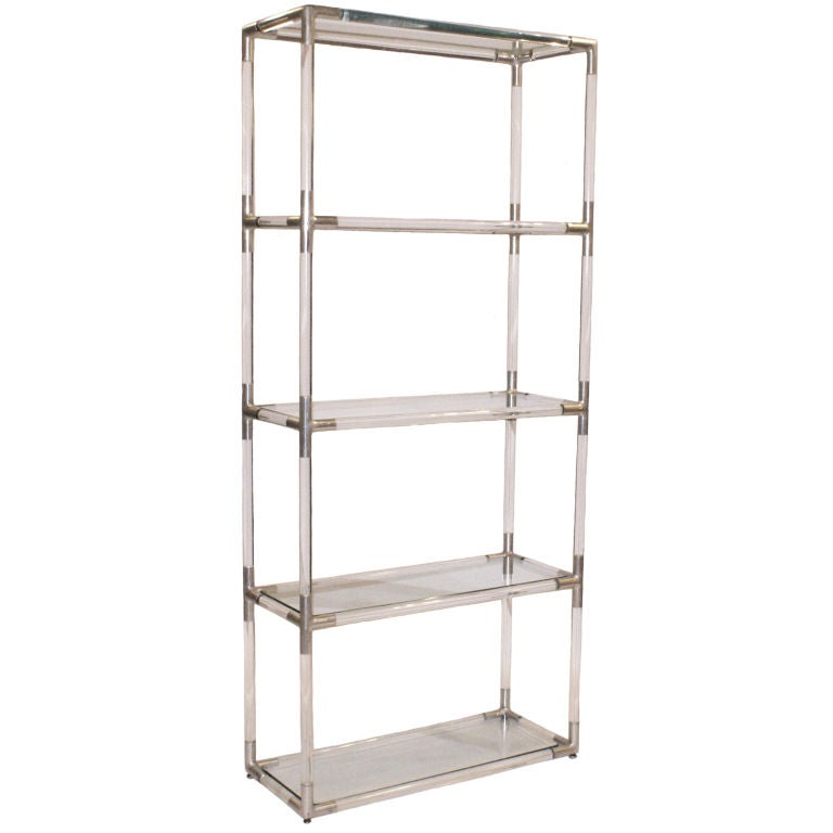 tubular acrylic and aluminum etagere at 1stdibs. Black Bedroom Furniture Sets. Home Design Ideas