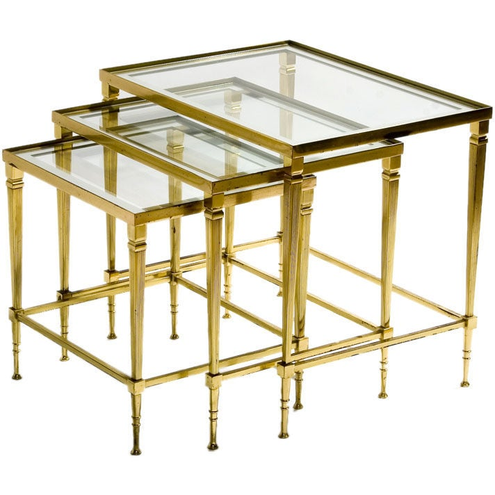 Set Of Three Brass Frame Nesting Tables At 1stdibs