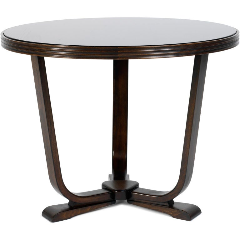 Deco Bentwood Occasional Table With Original Vitrolite Top At 1stdibs