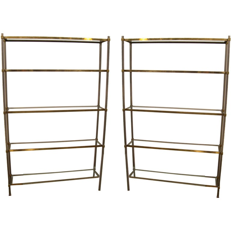 Pair of etageres french c 1960 at 1stdibs - Etagere cases carrees ...