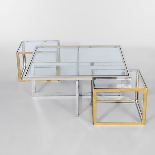 Chrome brass and glass coffee table with nesting side for Glass nesting coffee tables
