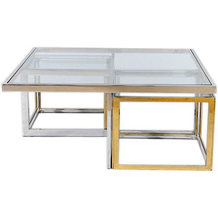 chrome brass and glass coffee table with nesting side tables