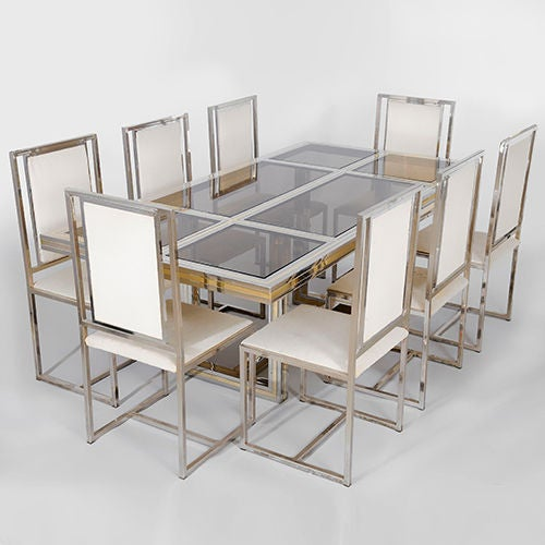 Romeo Rega Chrome and Brass Dining Table and 8 Chairs  : 1825bagp0089v1 from www.1stdibs.com size 500 x 500 jpeg 33kB