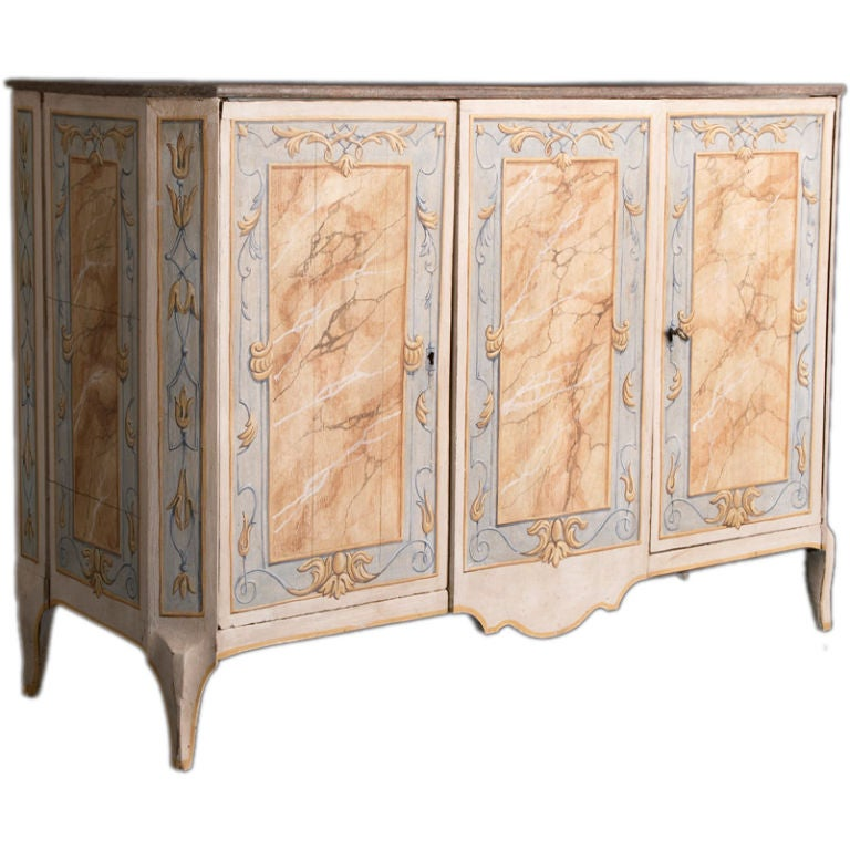 A late 18th century italian painted three door cabinet at for Italian painted furniture