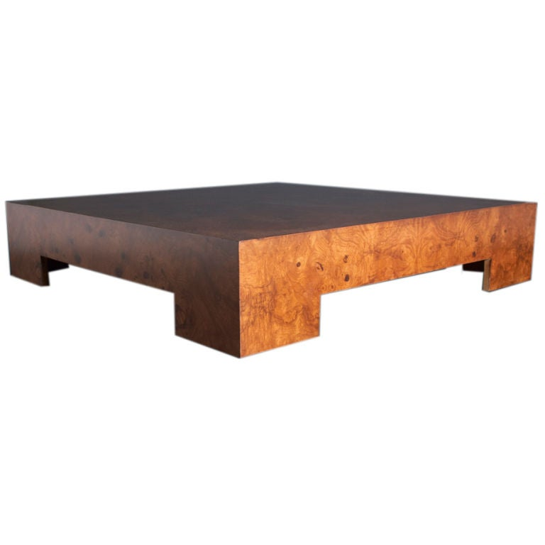 A large 1960s low burlwood coffee table at 1stdibs for Large low coffee table