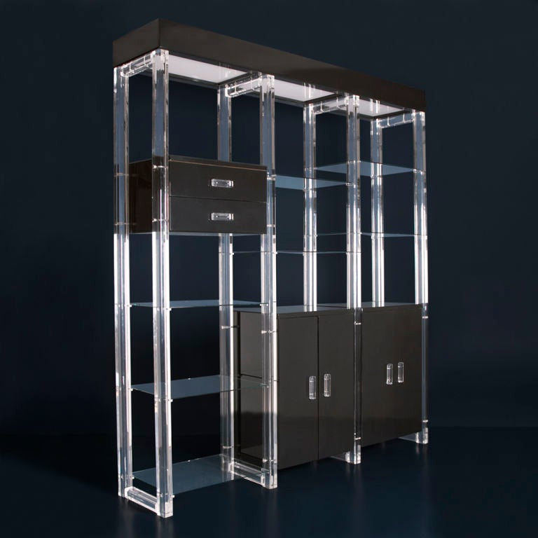 A black lacquer and lucite etagere with glass shelving usa 1960s at 1stdibs - Etagere cases carrees ...