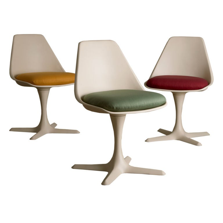 A set of three swivel dining chairs 1970s for sale at 1stdibs for Swivel chair dining sets