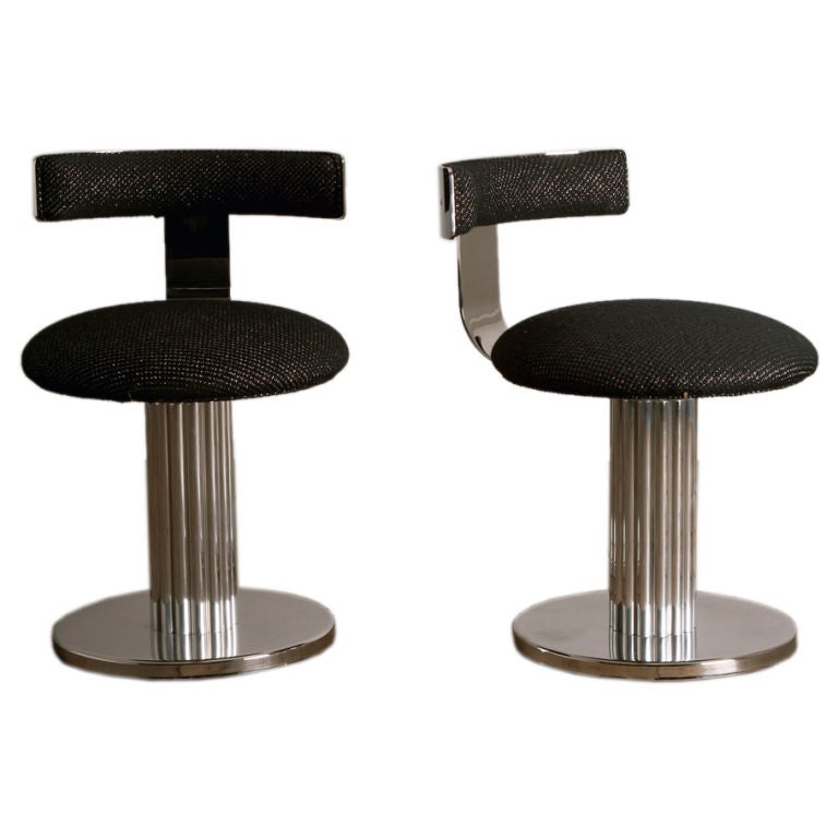 A Pair Of Nickel Plated Pedestal Based Swivel Chairs At