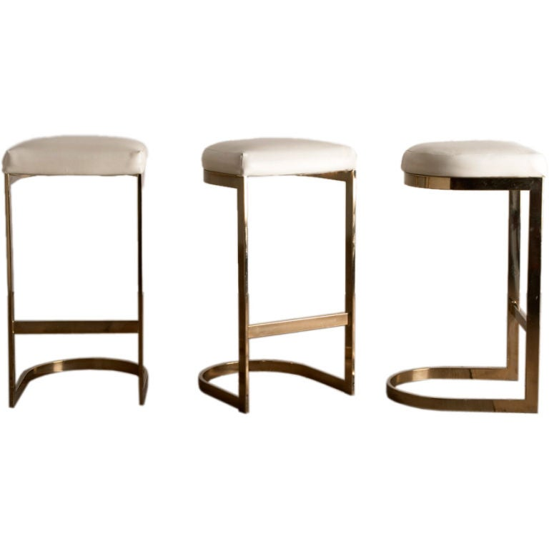 A Set Of Three Cantilvered Brass Framed Barstools 1970s At