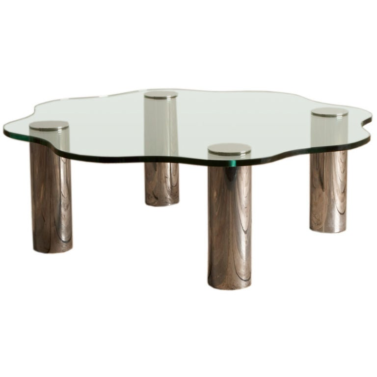 A 1970s Freeform Nickel Plated Legged Glass Coffee Table At 1stdibs