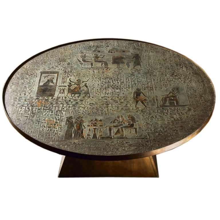 A Rare Patinated Bronze Egyptian Style Coffee Table By Laverne