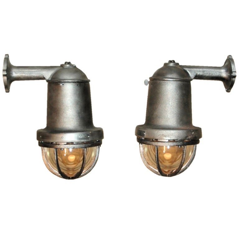 Hand Polished Cast Iron Industrial Lights at 1stdibs