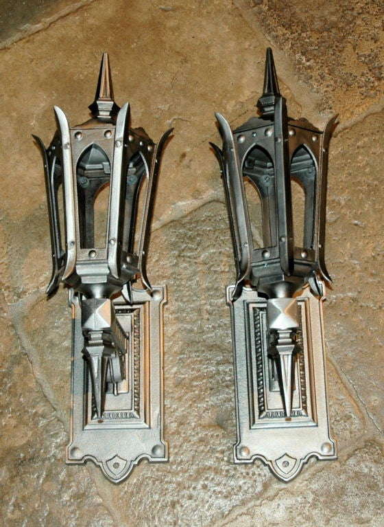 Fantastic Pair of Hand Polished Cast Iron Sconces For Sale 5
