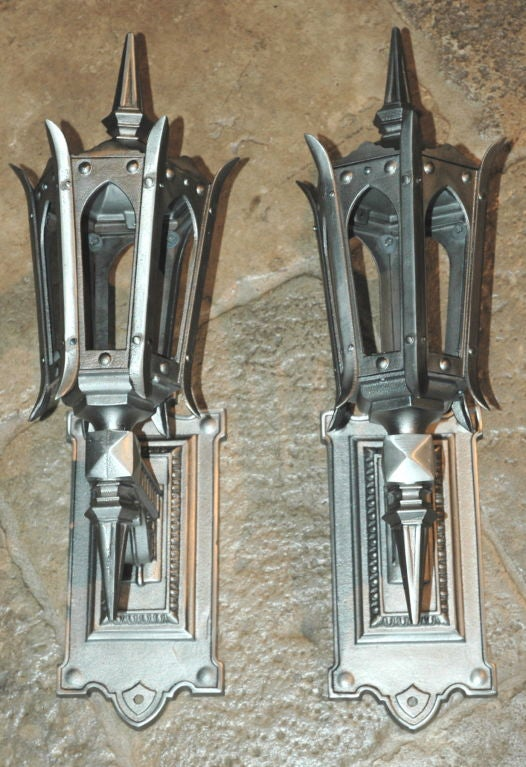 Fantastic Pair of Hand Polished Cast Iron Sconces For Sale 4