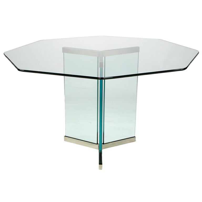 Pace Collection Octagonal Glass And Brushed Stainless