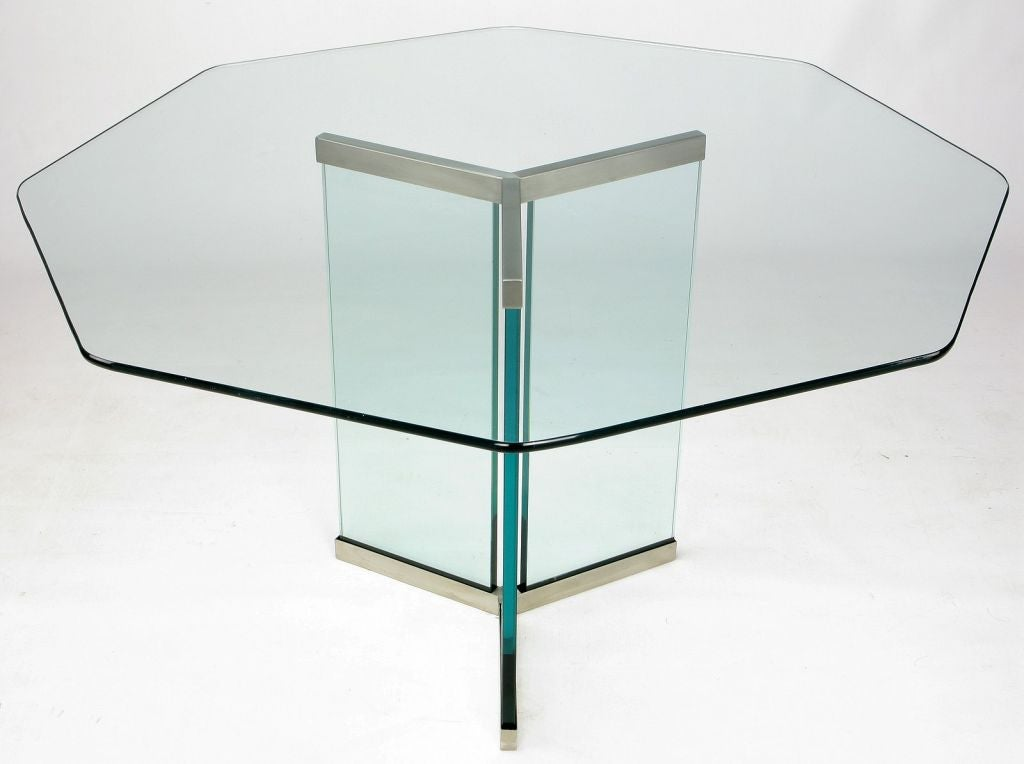 Pace Collection Octagonal Glass and Brushed Stainless  : 0011 from 1stdibs.com size 1024 x 764 jpeg 43kB