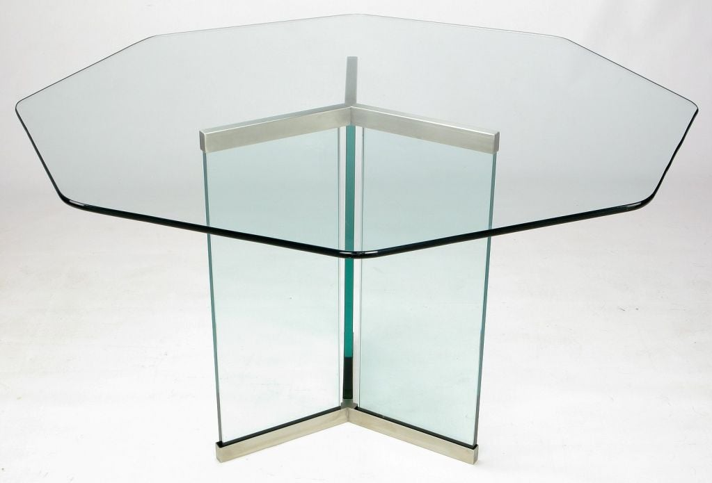 Pace Collection Octagonal Glass and Brushed Stainless  : 0012 from 1stdibs.com size 1023 x 695 jpeg 40kB