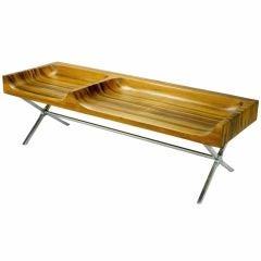 Signed 1965 Studio Made Maple & Polished Steel Trestle Bench