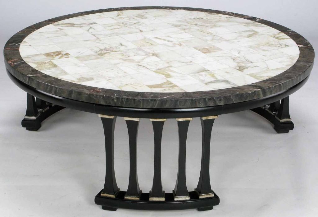 Round triple colonnaded marble top coffee table at 1stdibs for Stone topped coffee tables
