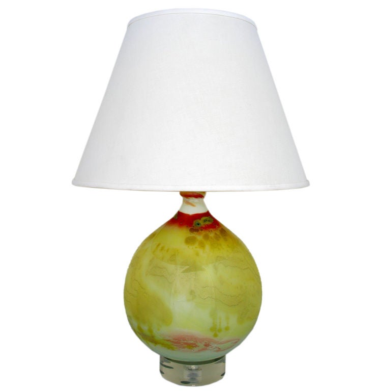 hand blown artisan glass table lamp with acrylic base for sale at. Black Bedroom Furniture Sets. Home Design Ideas