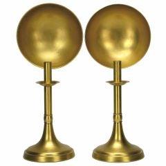 Pair Sarreid Brass Candlesticks With Concave Reflectors
